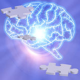 Brain Puzzle. Brain with puzzle pieces radiates Stock Image