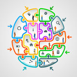 Brain of puzzles with workers Royalty Free Stock Photography