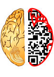 Brain and qr code Stock Images