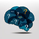 Brain and question marks - Questions Stock Photography