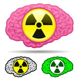 Brain with radioactive icon set Royalty Free Stock Image