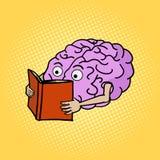 Brain reading pop art style vector illustration Stock Photos