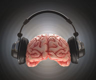 Brain Recording. Human brain recording information with headphones. Clipping path included royalty free illustration