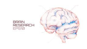 Brain research futuristic medical ui. IQ testing, artificial intelligence virtual emulation science technology stock illustration