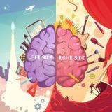 Brain Right Left Sides Cartoon affisch royaltyfri illustrationer