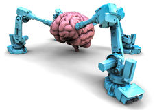 Brain with robots Royalty Free Stock Image