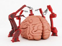 Brain and  robots Stock Photography