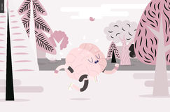 Brain running in the forest, white and pink version Stock Photos