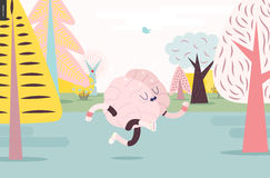 Brain running in the forest, white and pink version Royalty Free Stock Photography