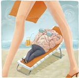 Brain's vacation. An illustration of brain lying down on the beach and looking at women Stock Images