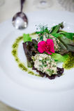 Brain salad with mixed greens Stock Photography