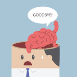 Brain say goodbye and go out of businessman head Royalty Free Stock Photo