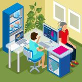 Brain Scanning Isometric Composition vector illustration