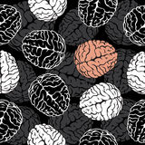 Brain seamless background vector. Template for Royalty Free Stock Photos