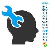 Brain Service Flat Vector Icon med bonusen royaltyfri fotografi