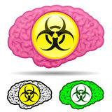 Brain set with biohazard sign Stock Image
