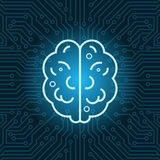 Brain Shape Icon Over Blue Circuit Motherboard Background Top View. Vector Illustration Stock Photos