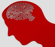 Brain-shaped labyrinth inside the head of a profile stock illustration