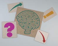 Brain-shaped maze on a sheet of paper Royalty Free Stock Image