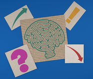 Brain-shaped maze on a sheet of paper Royalty Free Stock Photo