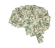 The brain shaped money heap Royalty Free Stock Images