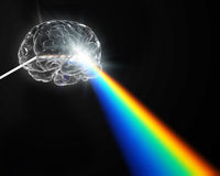 A brain shaped prism dispersing white light. Creativity concept royalty free illustration
