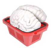 Brain in shopping basket Stock Images