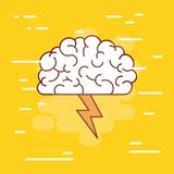Brain side view colorful silhouette with thunderbolt and background yellow. Vector illustration Royalty Free Stock Photos