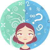 Brain sides. Vector illustartion of the Left and Right Brain sides of a young woman Royalty Free Stock Photography