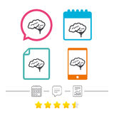 Brain sign icon. Intelligent smart mind. Royalty Free Stock Photography