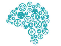 Brain silhouette made of small gears. Royalty Free Stock Images