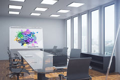 Brain sketch in conference room. Modern conference room with colorful brain sketch on whiteboard and city view. Brainstorm concept. 3D Rendering Stock Photography