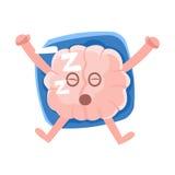 Brain Sleeping On The Back humanisé sur l'oreiller, icône d'Emoji de personnage de dessin animé d'organe humain d'intellect Images libres de droits