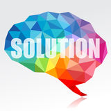 Brain and solution. Concept of brain and solution in modern triangular style Stock Images