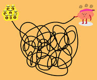 Brain solving tangled line to money. Brain cartoon character vector illustration solving a  tangled line to get big money conceptual image about a person try to Stock Photography