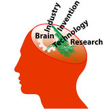 Brain the source of ideas. Illustration of an orange colored head with cut away portion featuring a white cog wheel and text 'brain, industry, invention Royalty Free Stock Image