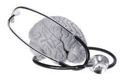 Brain Specimen and Stethoscope Stock Photo