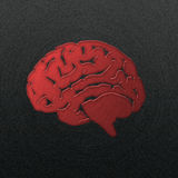 Brain, stamped into polished  metal Royalty Free Stock Images
