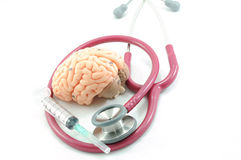 Brain and stethoscope Stock Images