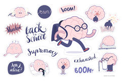 Brain stickers education and stress set Stock Image