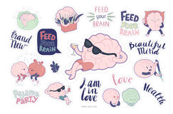 Brain stickers feed and leisure set Royalty Free Stock Photography