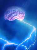 Brain Storm. A Brain caught in the storm giving off lightning Royalty Free Stock Photos