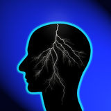 Brain storm. Illustration of a male head with a lightning strike, brain storm concept Royalty Free Stock Photo