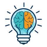 Brain storm with bulb Stock Image
