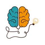 Brain storm with bulb. Illustration design Stock Photos