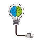 Brain storm with bulb Stock Photos