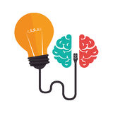 Brain storm with bulb Royalty Free Stock Images