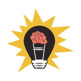 Brain storm with bulb Stock Photography