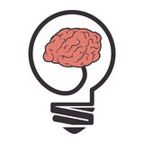 Brain storm with bulb Royalty Free Stock Image