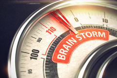 Brain Storm - Business Mode Concept. 3D. Metal Speedmeter with Red Punchline Reach the Brain Storm. Illustration with Depth of Field Effect. 3D Stock Photo